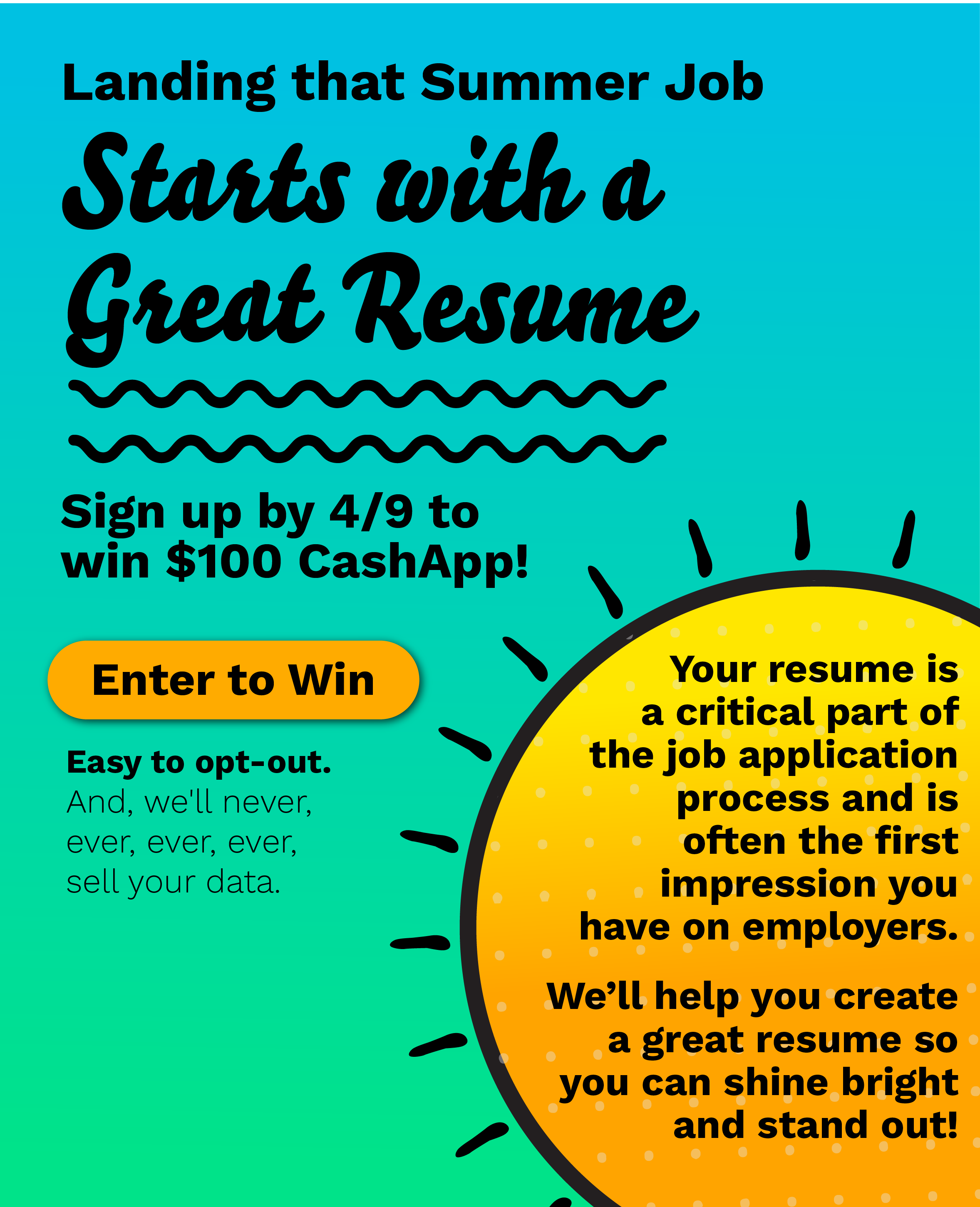 Landing a summer job starts with a great resume. Text #resume to 33-55-77 to reserve your spot with a job advisor.